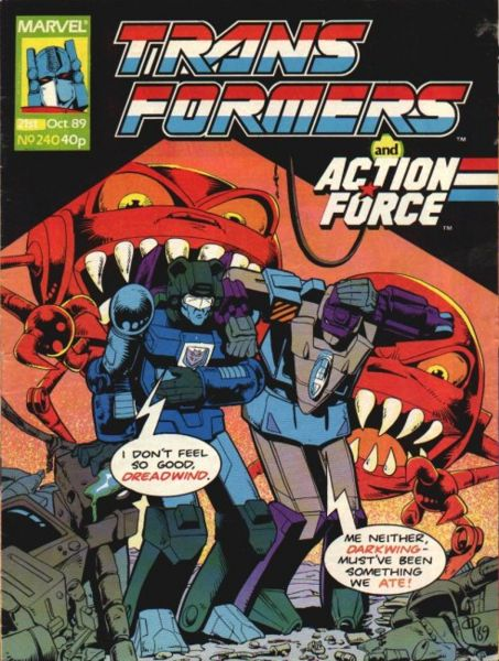 "Cover to The Transformers (Marvel UK) #240, ""Out to Lunch!"". Cover art by Andrew Wildman. © 1989 Marvel Comics and Hasbro."