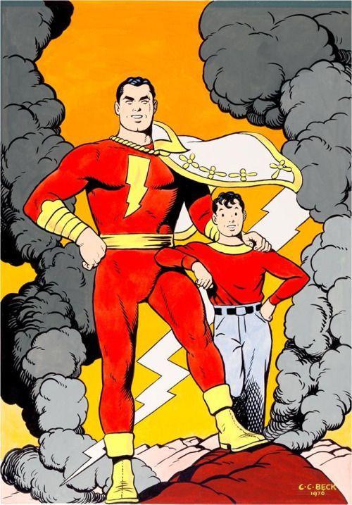 Captain Marvel i Billy Batson - rys. C.C. Beck