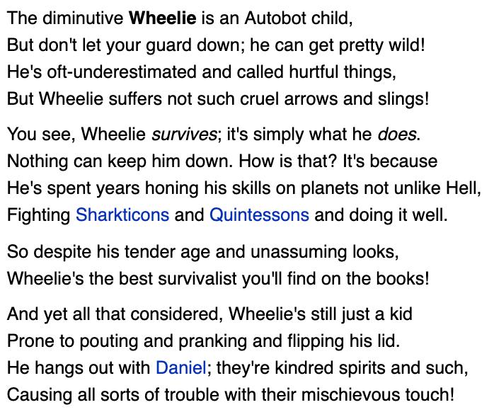Tfwiki.net wpis o Wheeliem